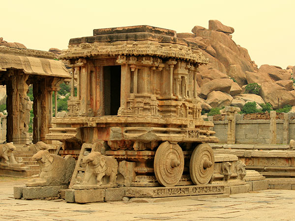 The stone chariot is a must do in Hampi